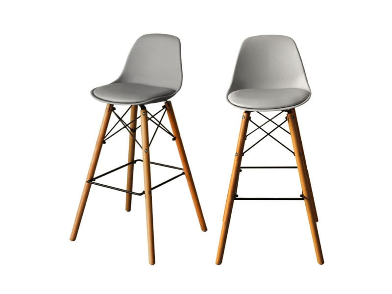 Lot de 2 tabourets de bar 74cm ormond steelwood couleur gris k 3601 6 grey vente de bar et for Tabouret bar couleur