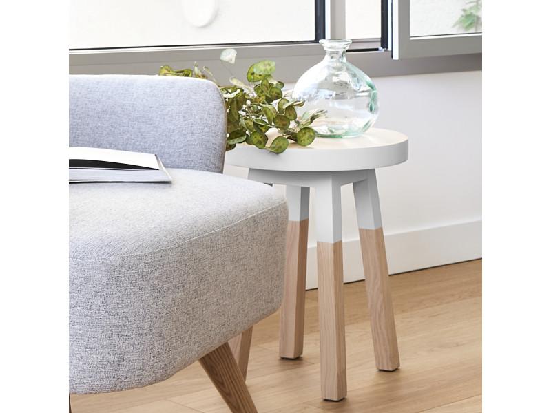 Lot de 2 tabourets frêne massif 35x35 cm blanc balisson - 100% fabrication française