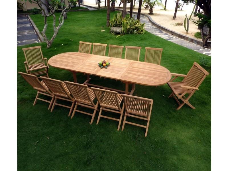 Salon en teck pour le jardin, table grande taille 3 mètres - Vente ...