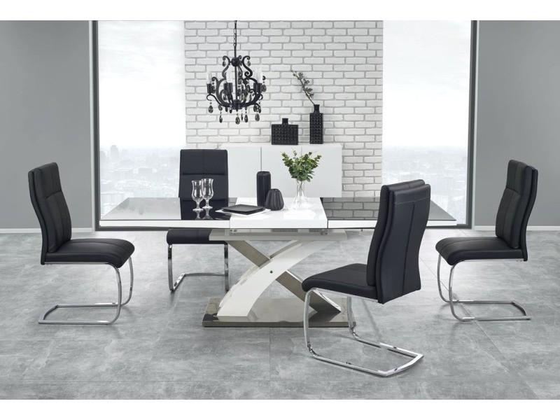 Table a manger design extensible 160÷220/90/75 cm - noir/blanc