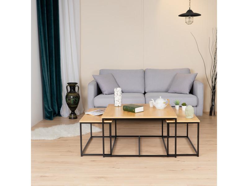 3 tables basses rectangulair bois noyer design industriel 80*80cm