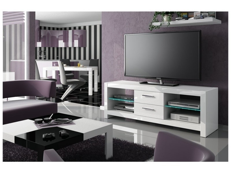 Meuble tv design led avec 2 tiroirs - blanc laque