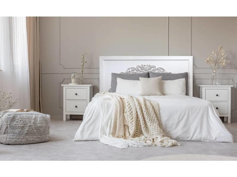 Tête de lit venezia 140cm bois blanc et vintage