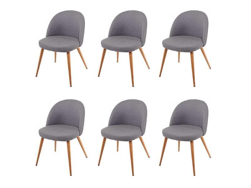 6x chaise de salle à manger hwc-d53, fauteuil, style rétro années 50, en tissu ~ gris foncé