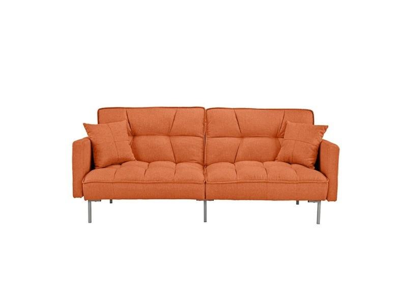 Ashley Canape Convertible Design Tissu Coloris Orange Vente