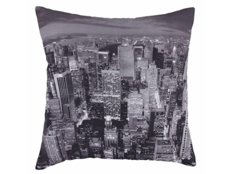 Housse de coussin 40 x 40 cm déhoussable imprimé urbain new york city gris