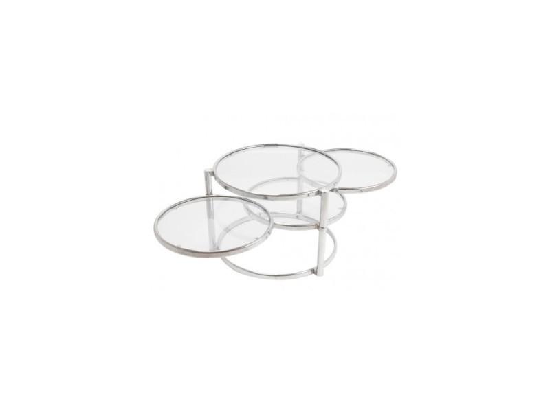 Table basse ronde quatre plateaux en verre et métal chromé