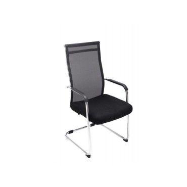 Chaise pour visiteur fauteuil de bureau avec accoudoirs noir pieds