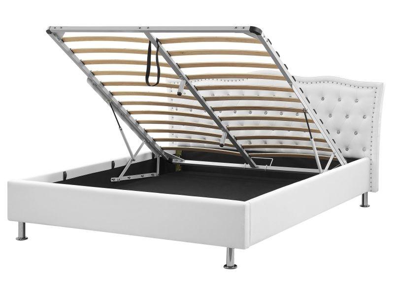 Lit design en cuir 160x200 cm blanc sommier avec rangement inclus metz 25935