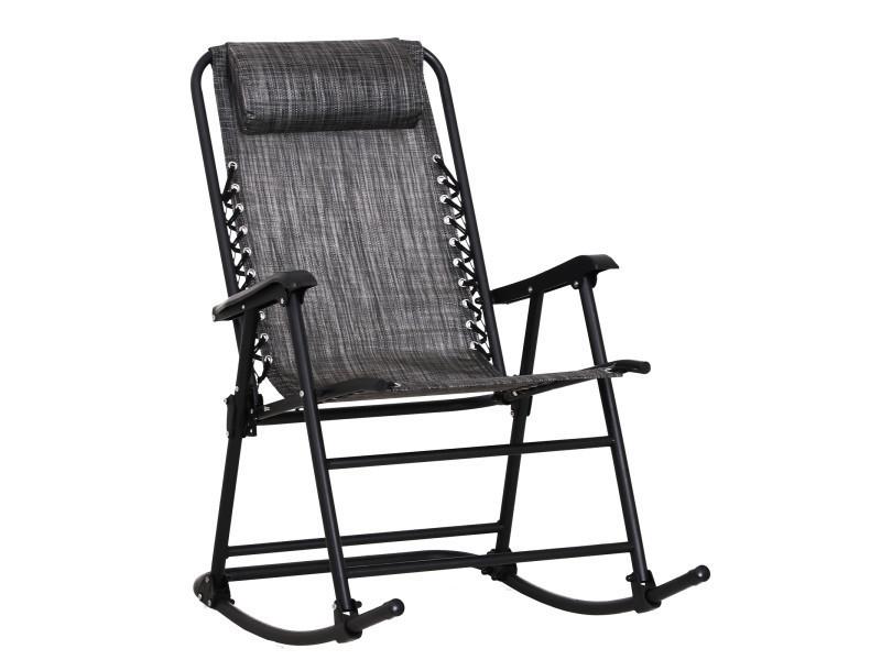 Fauteuil à bascule rocking chair pliable de jardin dim. 52l x 50l x 110h cm acier époxy textilène gris chiné