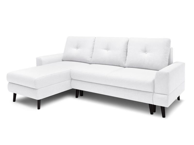 Canapé d'angle convertible coffre calanque blanc angle gauche