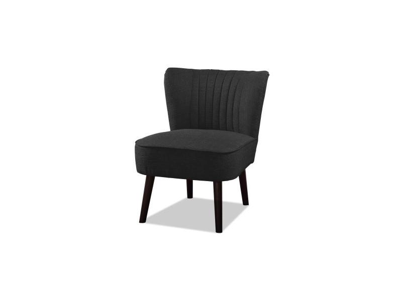 Nola fauteuil pieds bois - tissu gris anthracite - l 59 x p 70 x h 72 cm