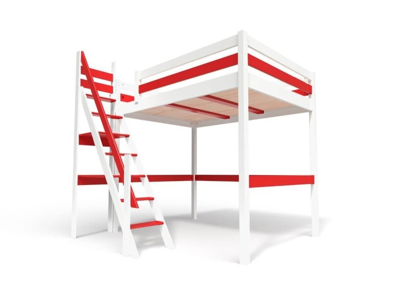 Lit mezzanine sylvia avec escalier de meunier bois 120x200 blanc/rouge 1120-BR