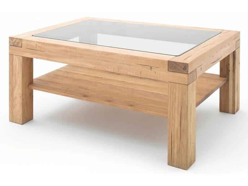 Table basse en chêne sauvage avec plateau en verre et étagère - l.120 x h.50 x p.70 cm -pegane-