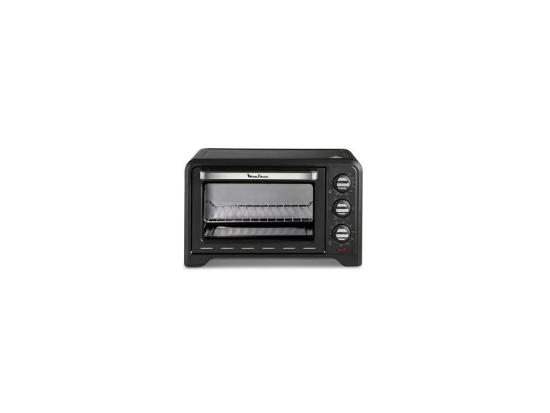 Mini-four optimo 1380w 19l noir - 6 modes de cuisson dont chaleur tournante et tournebroche
