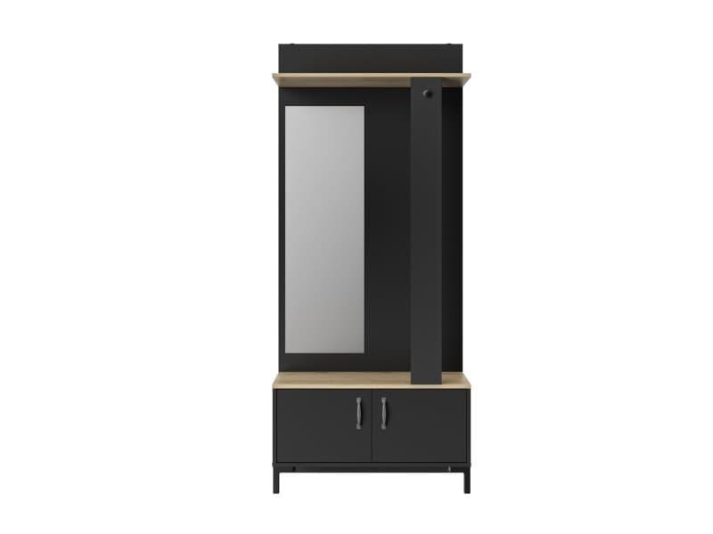 Meuble D Entree Noir 2 Portes Et Un Miroir Fabrication Francaise Vente De Calicosy Conforama