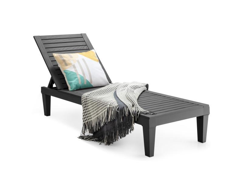 Giantex bain de soleil réglable, chaise longue résistante aux intempéries et à la rouille pour terrasse, plage, balcon, charge 180kg