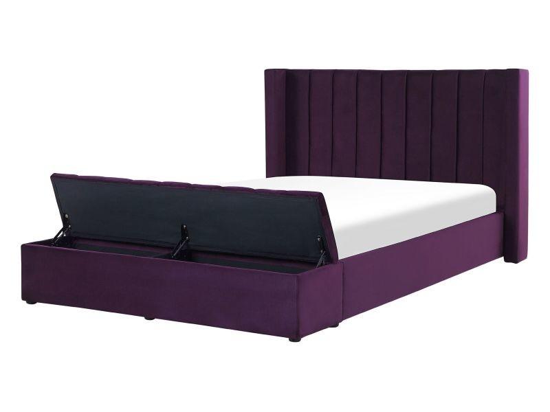 Lit double en velours violet avec banc coffre 140 x 200 cm noyers 219471