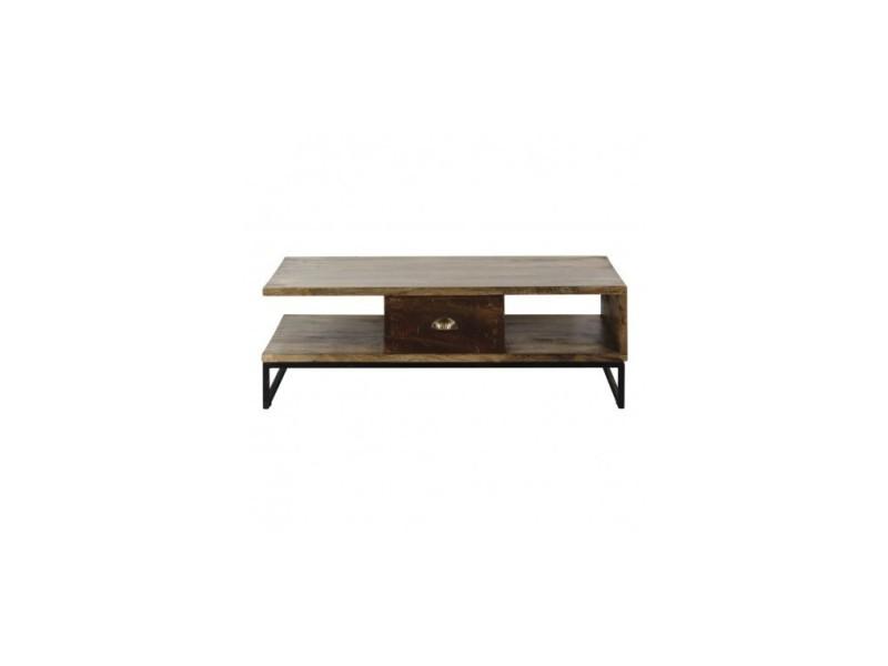 Table basse industriel bois et acier woodland