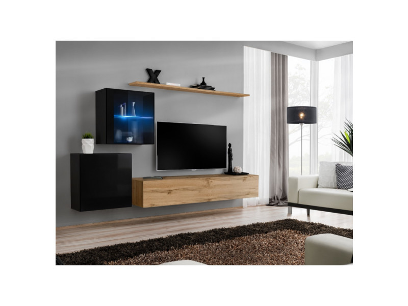 Ensemble mural - switch xv - 2 vitrines - 1 banc tv - 2 étagères - bois et noir - modèle 2