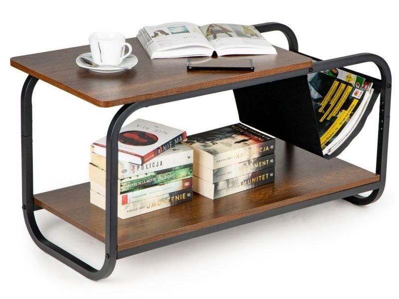 Mstore - table basse style loft salon/séjour - dimensions 86.5x46x40 cm - porte-revues intégré + double plateau - table à café - marron