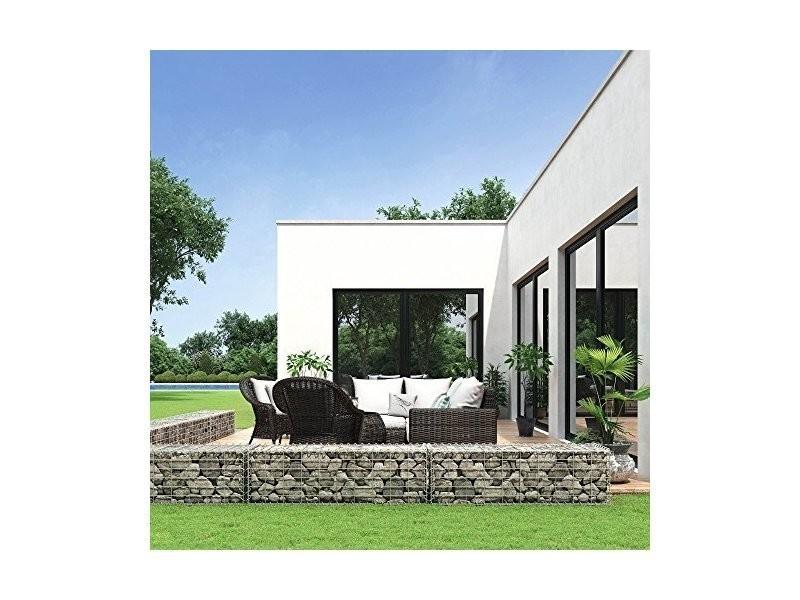 Gabion pierre métallique galvanisé banc de jardin siège gabion ...