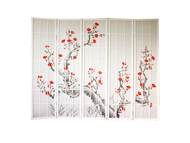 Paravent en bois blanc avec fleur de cerisier de 5 pans -pegane-