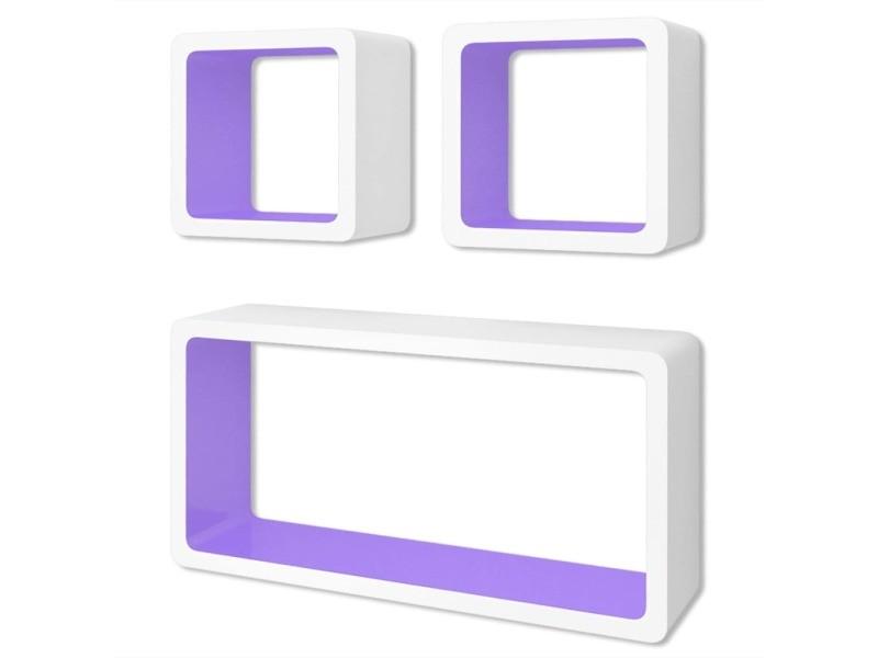 Vidaxl 3 etagères cubes murales et en mdf blanc-violet pour dvd/livres 242167