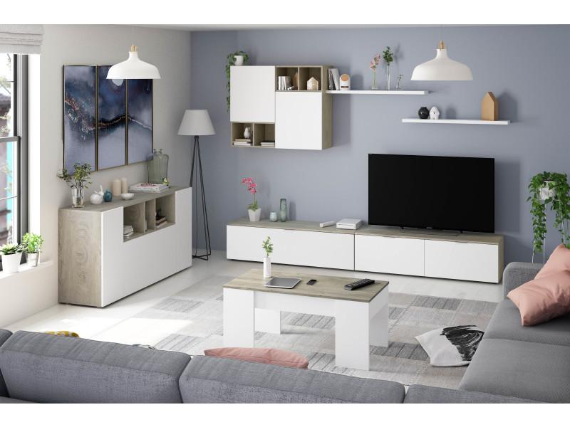 Laska 2 - ensemble meuble tv design chêne alaska et blanc