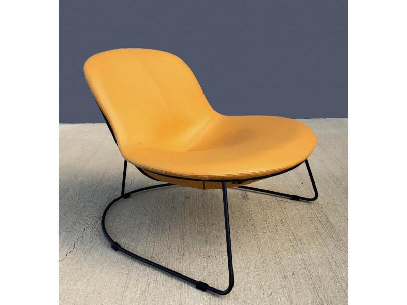 Duck - fauteuil contemporain en simili cuir jaune