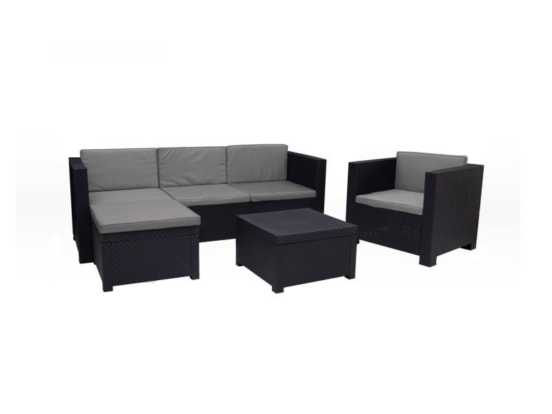 Figari - salon bas de jardin 5 places - en résine tressée injectée - noir avec coussins gris - pouf modulable couleur - noir