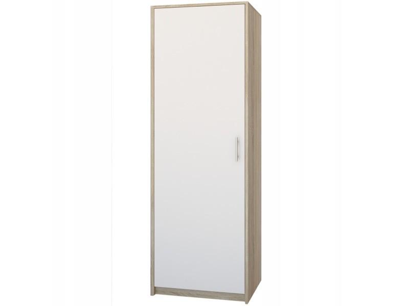 Essen - petite armoire contemporaine chambre/bureau/studio - 180x55x42 cm - penderie - meuble de rangement - sonoma/blanc