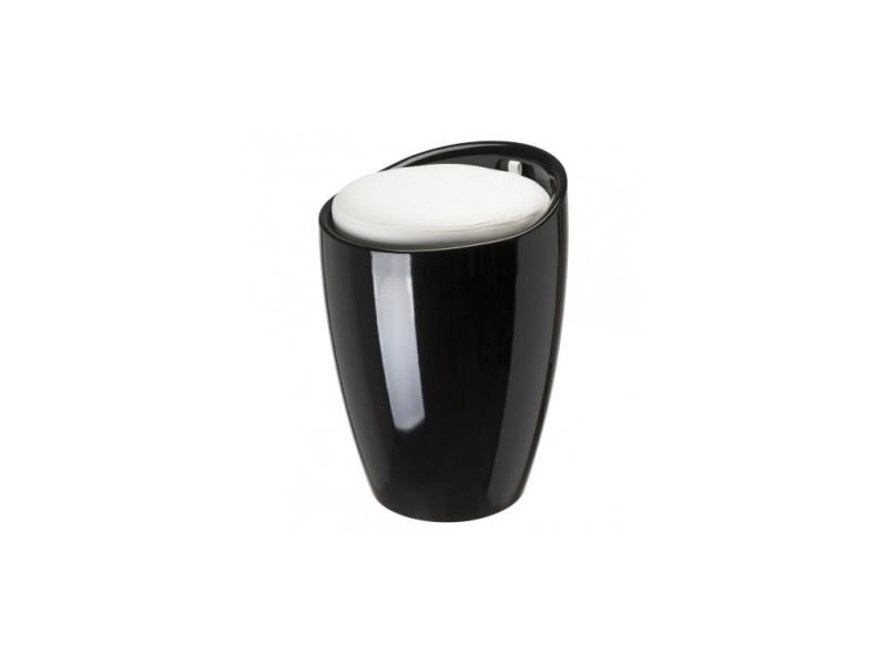 Tabouret pouf pop noir coussin blanc
