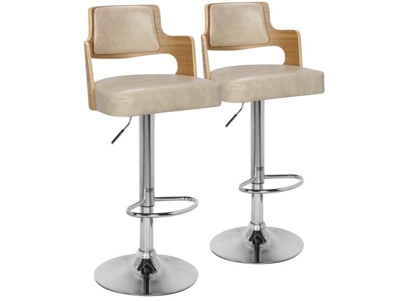 Lot de chaises de bar russel chêne clair crème vente de