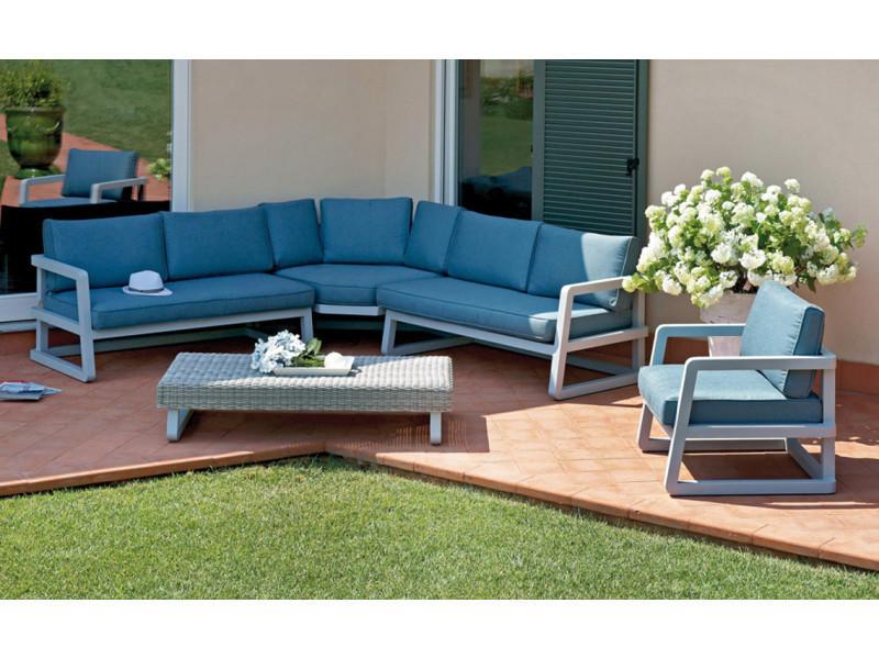 Salon de jardin en aluminium gris composé de 1 fauteuil + 1 canapé d ...