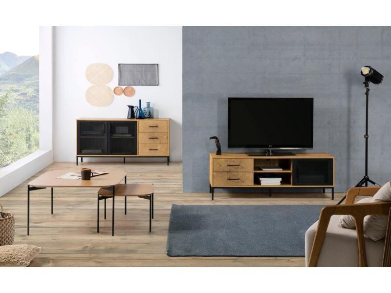 Bobochic table basse sinio noir et bois clair