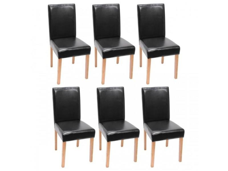 lot de 6 chaises de salle manger simili cuir noir pieds clairs cds04245 conforama. Black Bedroom Furniture Sets. Home Design Ideas