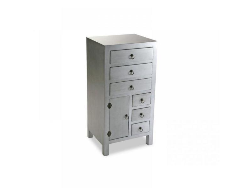 matmata chiffonnier bois 6 tiroirs 1 porte argent 20100835588 vente de chiffonnier conforama. Black Bedroom Furniture Sets. Home Design Ideas