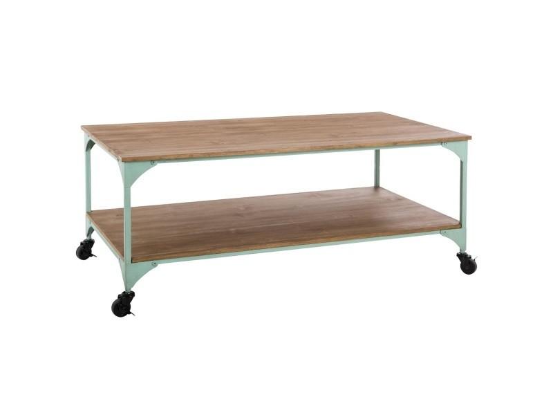 Table basse en métal coloris vert clair - l. 110 x l. 60 x h. 45 cm -pegane-