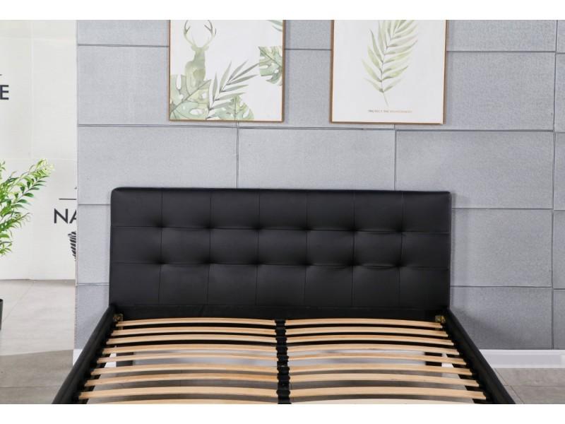 Frederic - solide et confortable lit avec sommier + tête de lit capitonnee couleur noir + pieds en 10 cm pour matelas en 90x200 - 13 lattes - revetement pvc simili facile d'entretien - montage rapide et facile