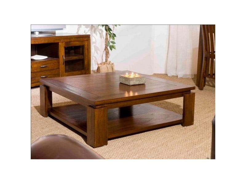 Table basse avec double plateau 90x90 cm en bois - votara