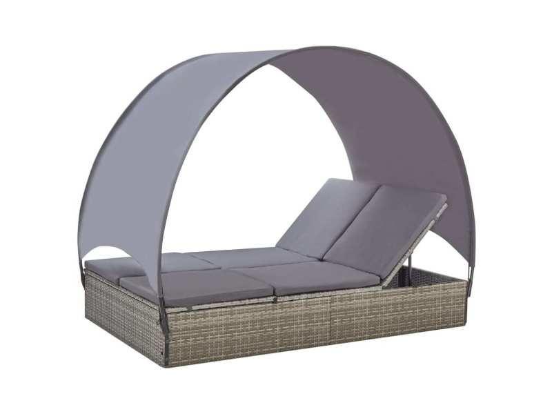 Splendide mobilier de jardin edition montevideo chaise longue double avec auvent résine tressée gris