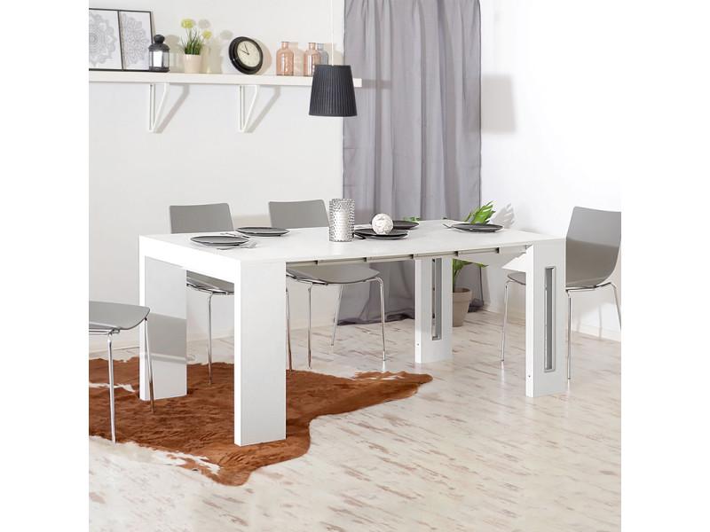 Table extensible coiffeuse bureau roma blanc cm