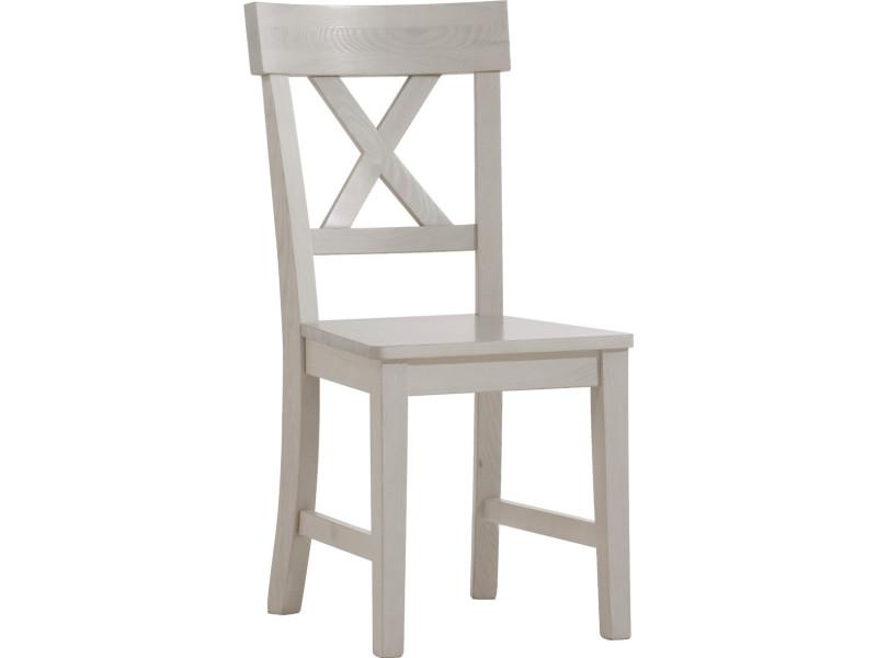 Lot de 2 chaises en pin massif chaulé blanc - dim : 44 x 53 x 93,5 cm http://www.comelia.com/gui/44STE-036645.jpg