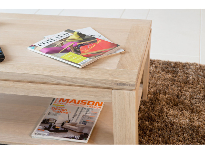 Table basse rectangulaire boston bois chêne blanchi massif