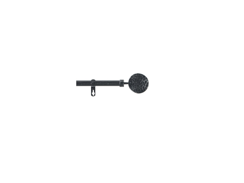 Kit tringle à rideau extensible - 210-380 cm - bullette - noir et argenté