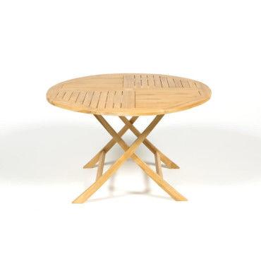 Table jardin en teck ronde et pliante (d 120cm) - Vente de Salon de ...