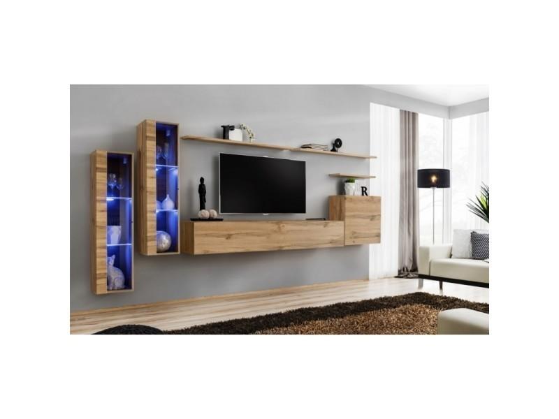 Ensemble mural - switch xi - 2 vitrines led - 1 banc tv - 1 vitrine carrée - 3 étagères - bois