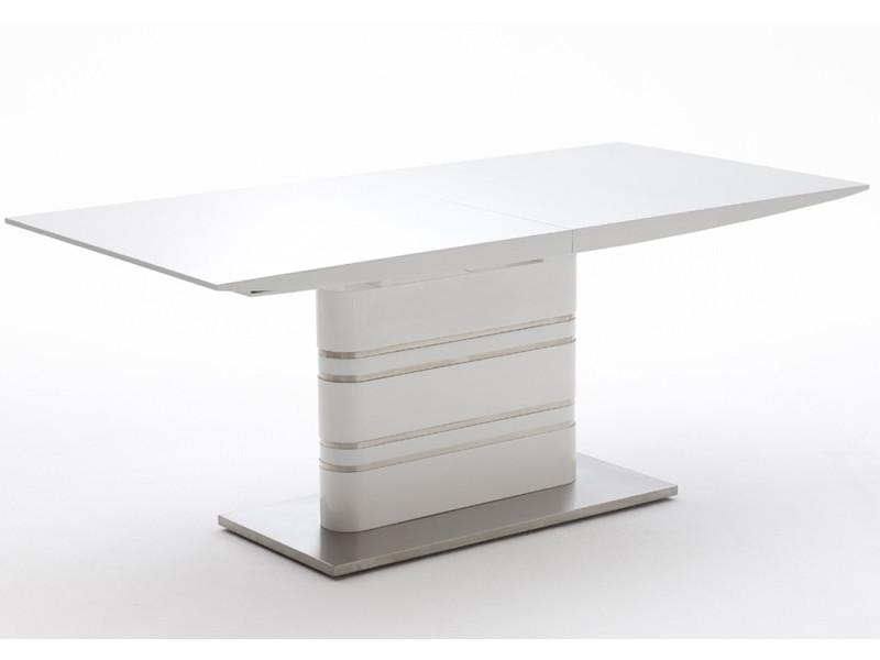 Table extensible avec rallonge blanc laqué brillant - l180-220 x h76 x p90 cm -pegane- PEGANE