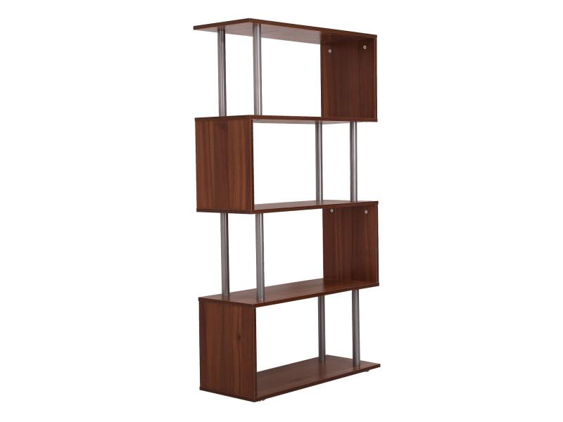 biblioth que tag re design contemporain en s 4 niveaux 80l x 30l x 145h cm coloris noyer 14. Black Bedroom Furniture Sets. Home Design Ideas